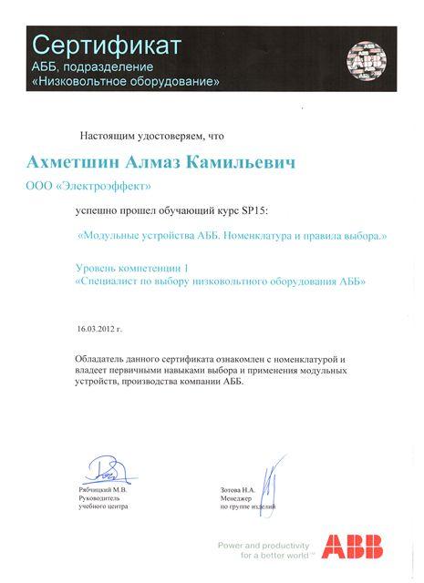Электроэффект: Сертификат ABB